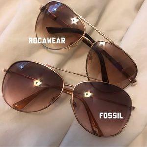 Women's 2 Aviator Sunglasses Fossil & Rocawear